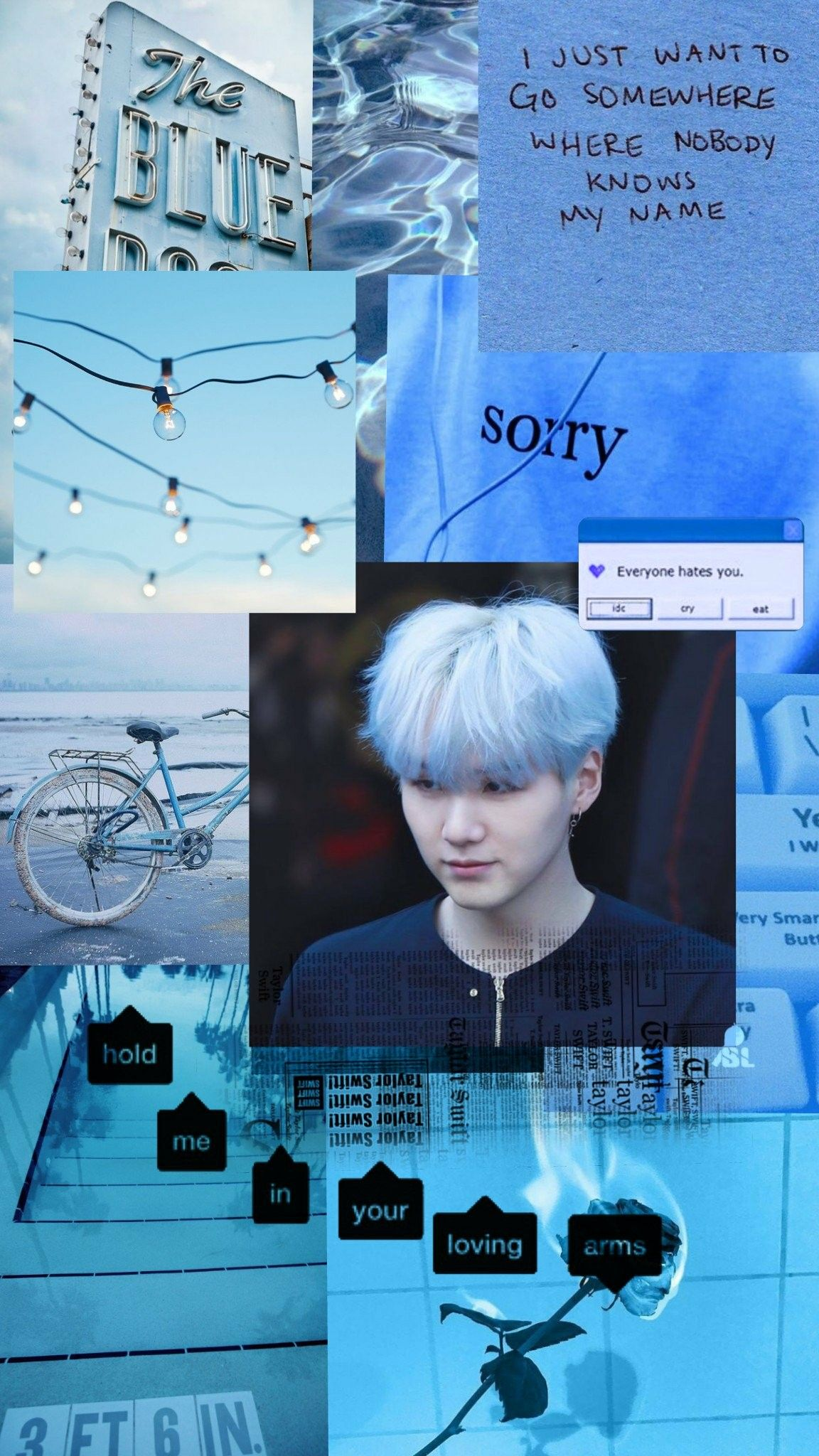 Yoongi Blue Aesthetic Wallpaper / Credits to twitter