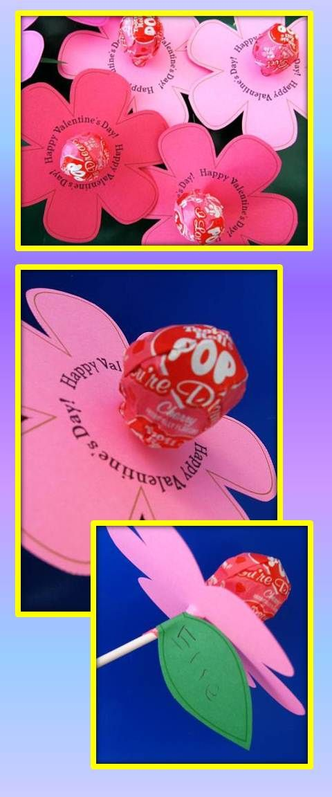 Download the printed file or you can draw your own. Cardstock may not go through your printer, make sure to adjust your settings, or use a bright paper and a second cardstock underneath. Add tootsie pop centre. At the bottom add a leaf, with the child's name. What a great Valentine! - Kudos to SkipToMyLou