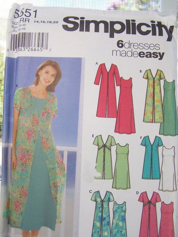 CLEARANCE Simplicity 5551 Women\'s Dress Pattern - Plus Size Dress ...