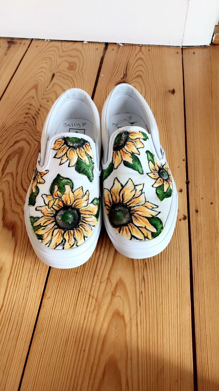 874d74219b8a Sunflower slip on vans - hand painted