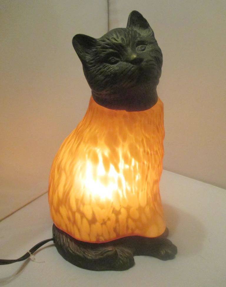 Cat Lamp Light Bronze Gold Colored Spotted Feline Art