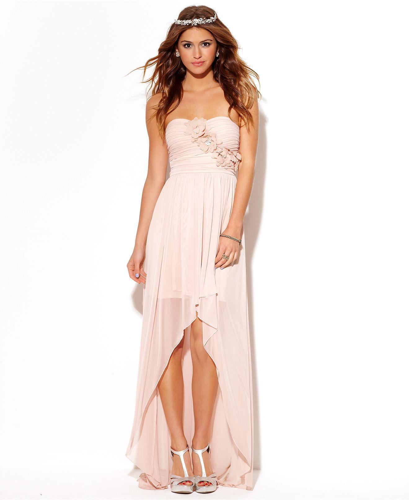 City Studios Juniors Dress, Strapless High-Low Illusion ...