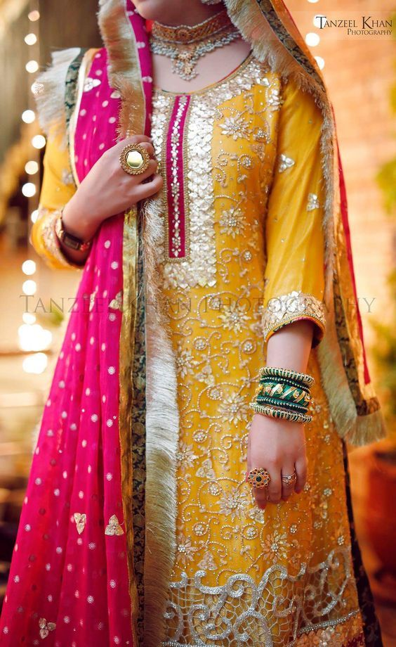Green n yellow pakistani bridal dresses
