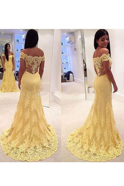 Vintage Mermaid Off Shoulder Yellow EveningProm Dress With
