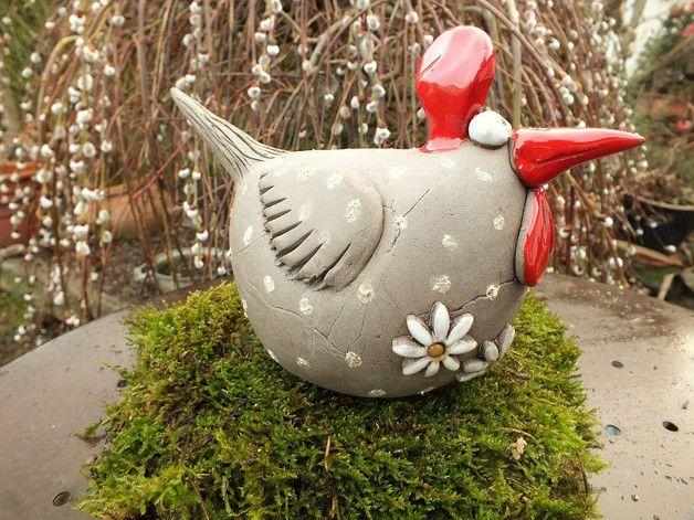 gartenkeramik skulptur huhn gr l vogel henne hahn gartenkeramik h hner und hahn. Black Bedroom Furniture Sets. Home Design Ideas