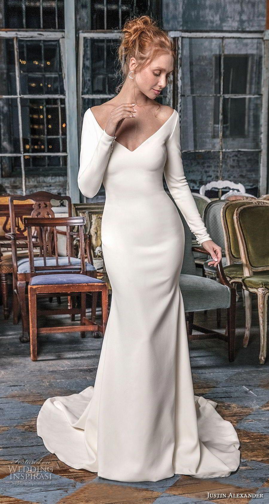Justin Alexander Signature Fall 2018 Wedding Dresses Wedding Inspirasi Sheer Wedding Dress Fit And Flare Wedding Dress Wedding Dress Long Sleeve [ 1688 x 900 Pixel ]