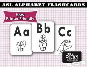 Asl Alphabet Flashcards  Printer Friendly  Language Arts