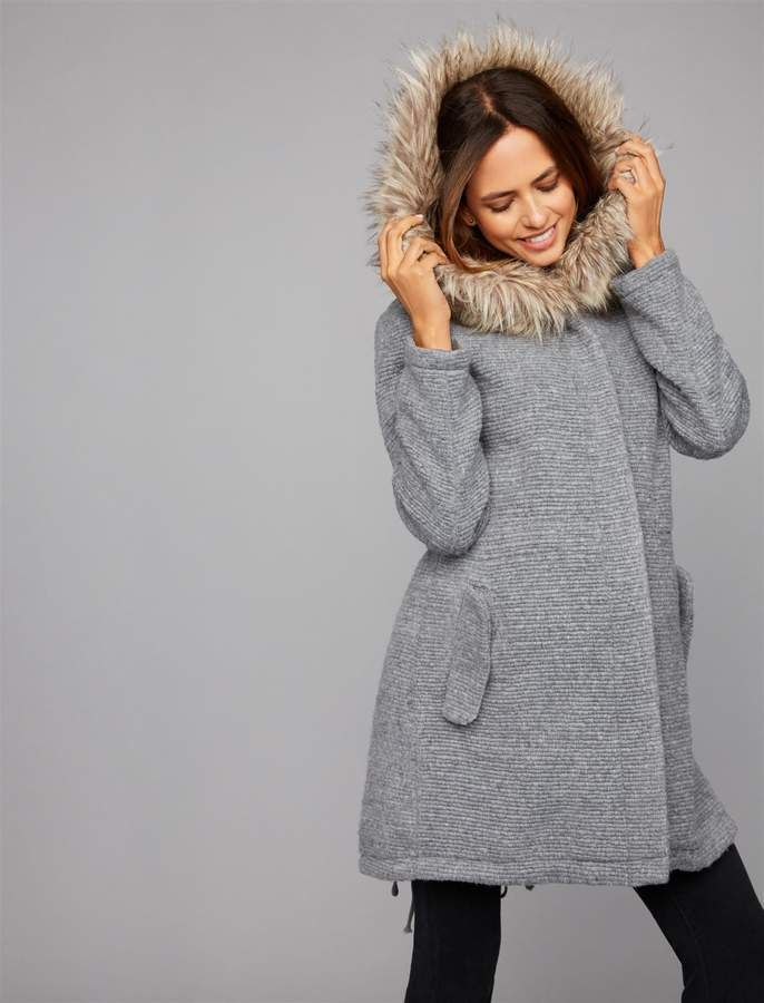 ce3d903866576 Bb Dakota Faux Fur Maternity Jacket   Products   Maternity coat ...