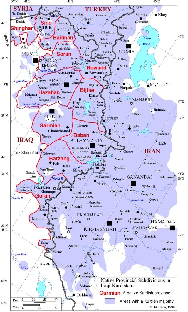 subdivision kurdistan iraq please note map is not aligned north to south