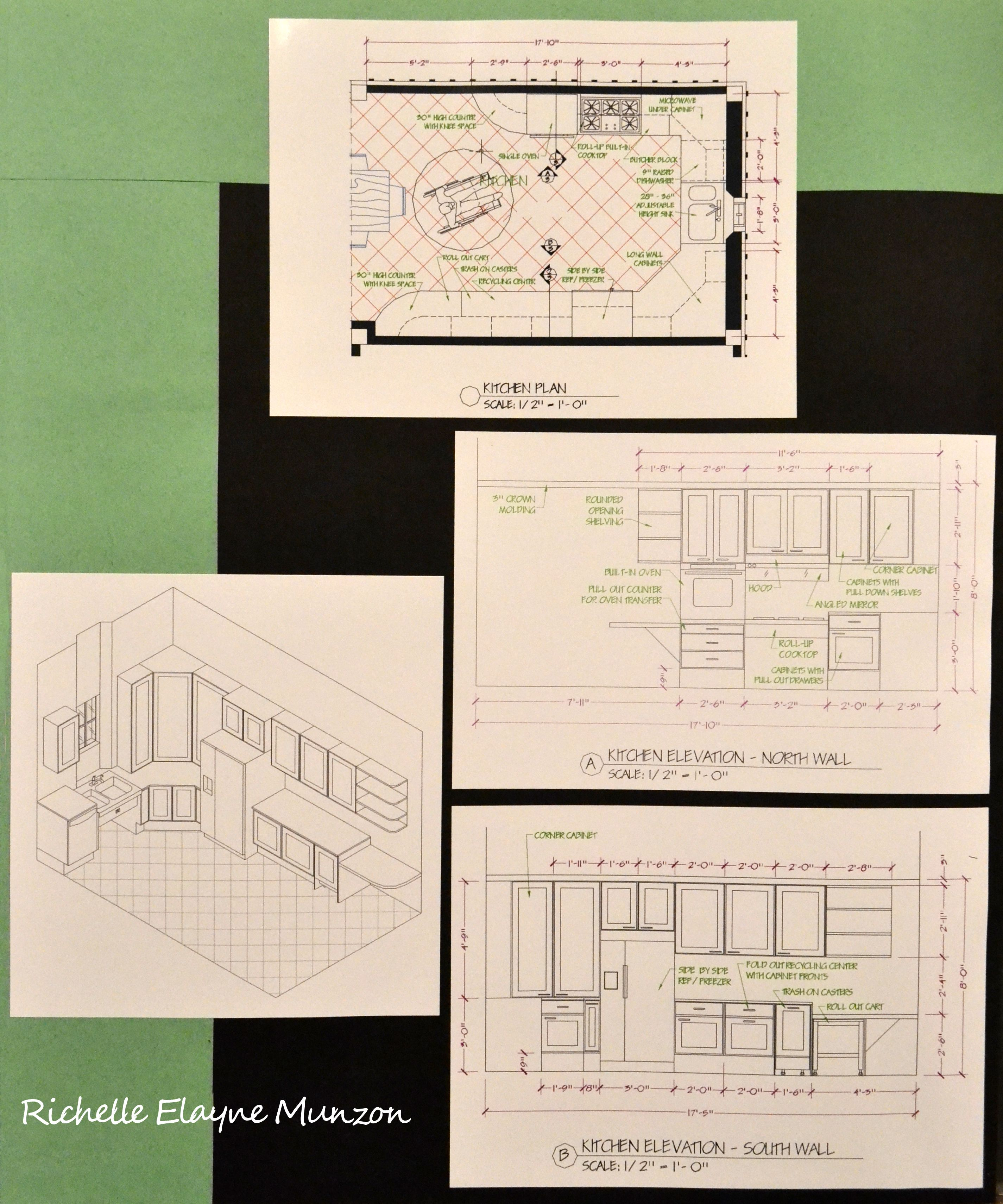 Autocad Floor Plan Elevation And Perspective Drawings By Richelle Elayne Munzon Kitchen Floor Plans How To Plan Floor Plans