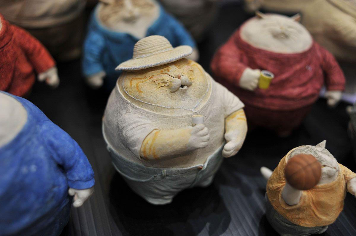 """""""Fat cats""""  Masaki Tak in Hiroshima, in his ceramic  studio Necologic."""
