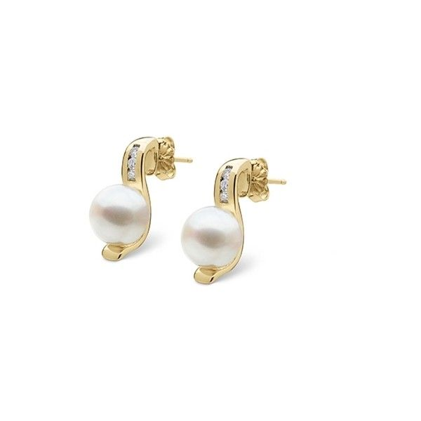 Melody Collection Freshadama Pearl and Diamond Earrings ($328) ❤ liked on Polyvore featuring jewelry, earrings, white, pearl diamond earrings, white pearl earrings, white jewelry, white diamond jewelry and white diamond earrings
