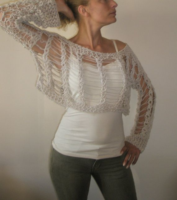 Beige hand knitted blouse on Etsy, $69.87