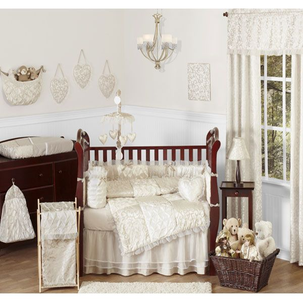 Victoria Ivory And Champagne Crib Toddler Bedding Collection By Sweet Jojo Designs