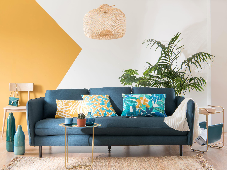 Villa Del Sol Decor Trend Maisons Du Monde Yellow Walls Living Room Tropical Living Room Trending Decor #yellow #accent #wall #living #room