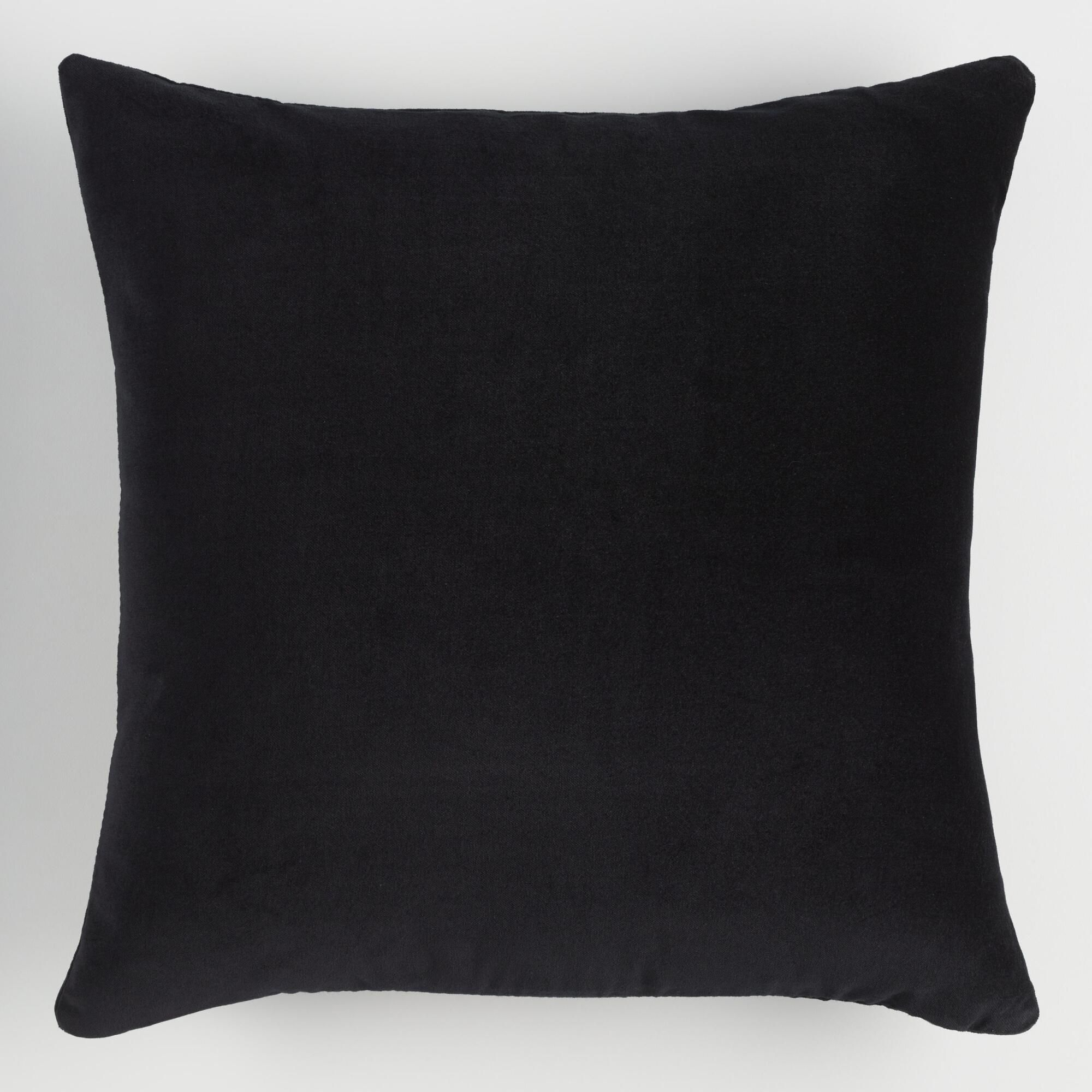 Black Velvet Throw Pillow Cotton 18 Square By World Market