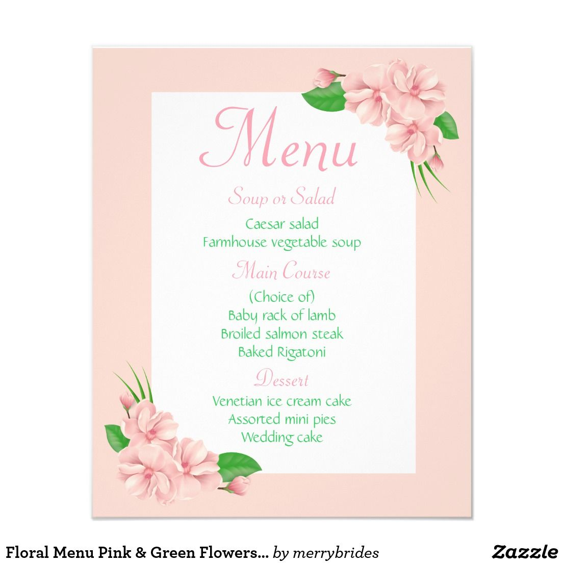 Floral menu pink green flowers wedding party green flowers and floral menu pink green flowers wedding party mightylinksfo