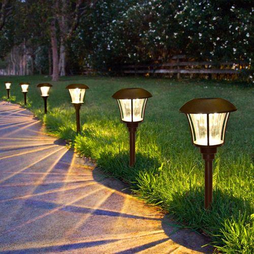 High Quality Led Yard Light With Brushed Stainless Steel Finish For A Contemporary Feel Solar Landscape Lighting Best Solar Garden Lights Solar Lights Garden