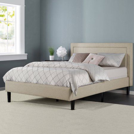 Zinus Upholstered Detailed Platform Bed with Headboard and Wooden Slats - Walmart.com