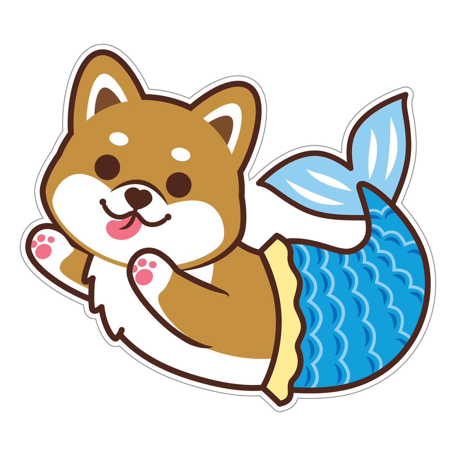 SHIBA INU MERMAID STICKER Mermaid sticker, Cute stickers