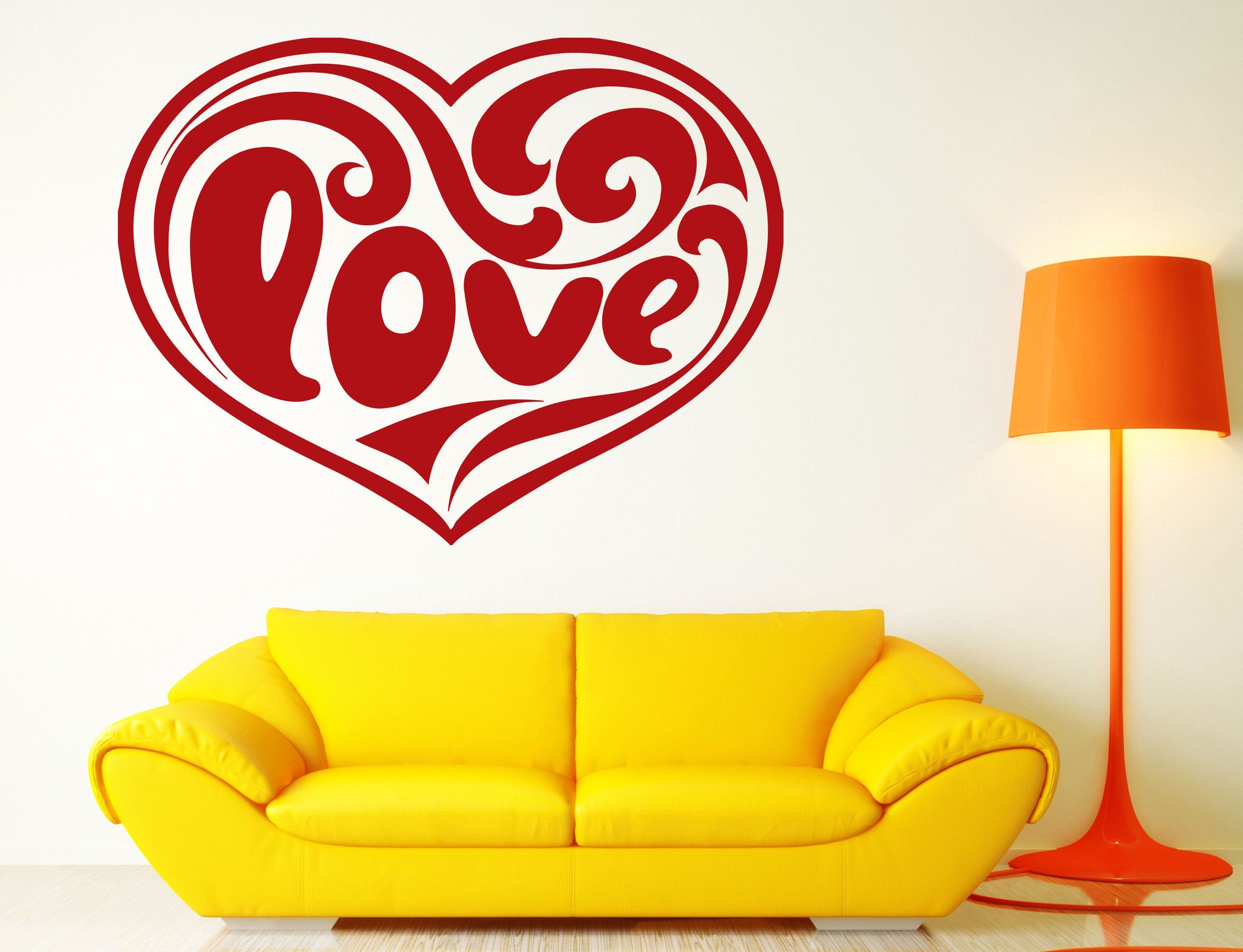 Vinyl Decal Love and Romance Wall Stickers Heart Inscription Love ...