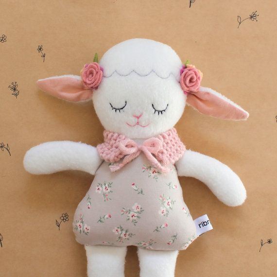 Lamb Soft Toy Doll Handmade In Australia Plushie Bear Gift Nursery Decor Birthday Felt Flowers Heirloom