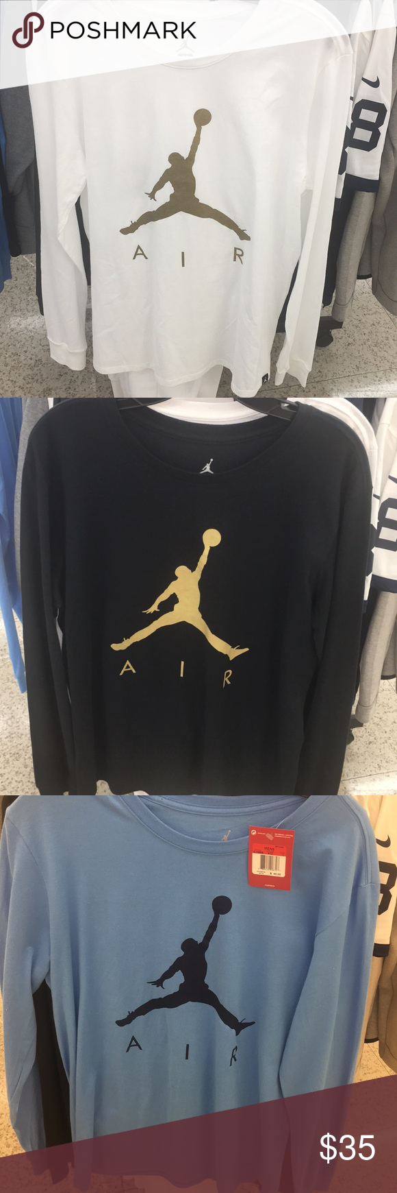 970375bac5f3 Air Jordan Long Sleeve Black Blue White Gold Shirt CHOOSE 1 or Ask for  Bundle Air
