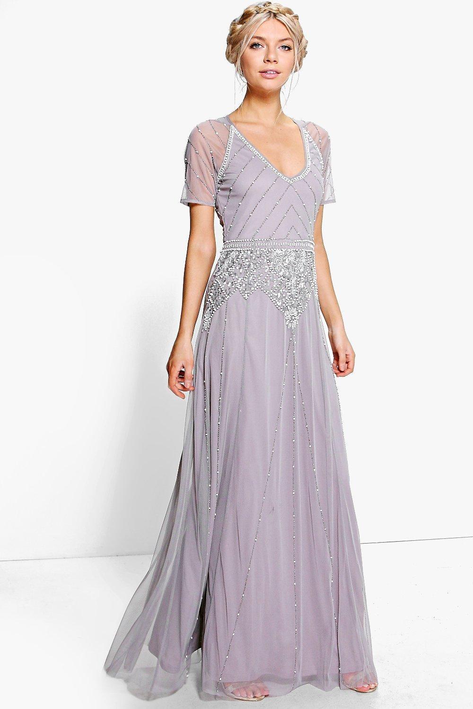 03766dbfc22 1920s Bridesmaid Dresses   Gowns Boutique Mai Beaded Cap Sleeve Maxi Dress  Purple