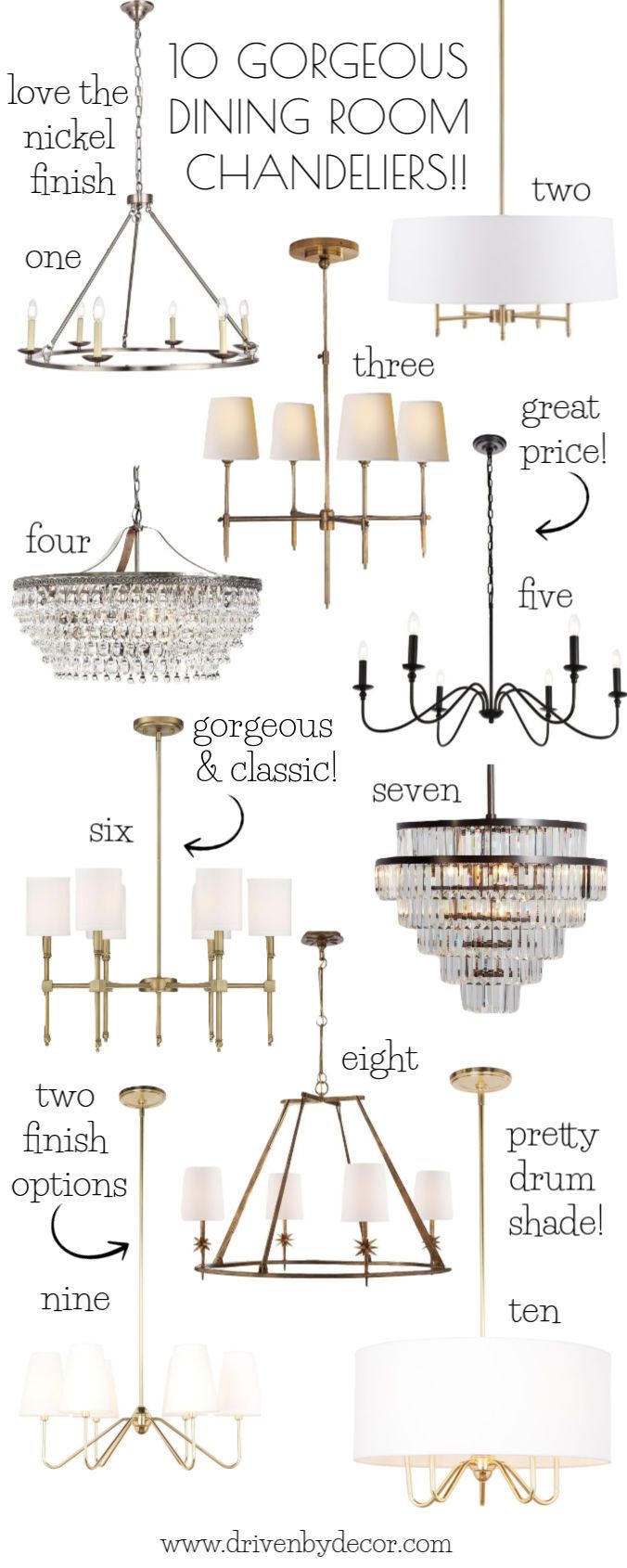 Dining Room Chandeliers: My Ten Favorites! | Driven by Decor