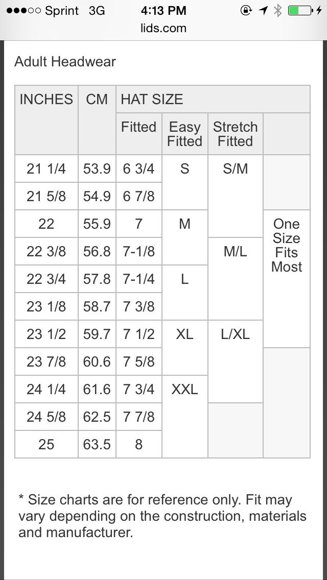 Fitted Hat Size Chart Adults Hat Size Chart Hat Sizes Size Chart