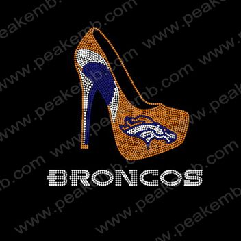 Iron On Denver Broncos Rhinestone High Heel Transfer Rhinestone High Heels Heels Bling Heels