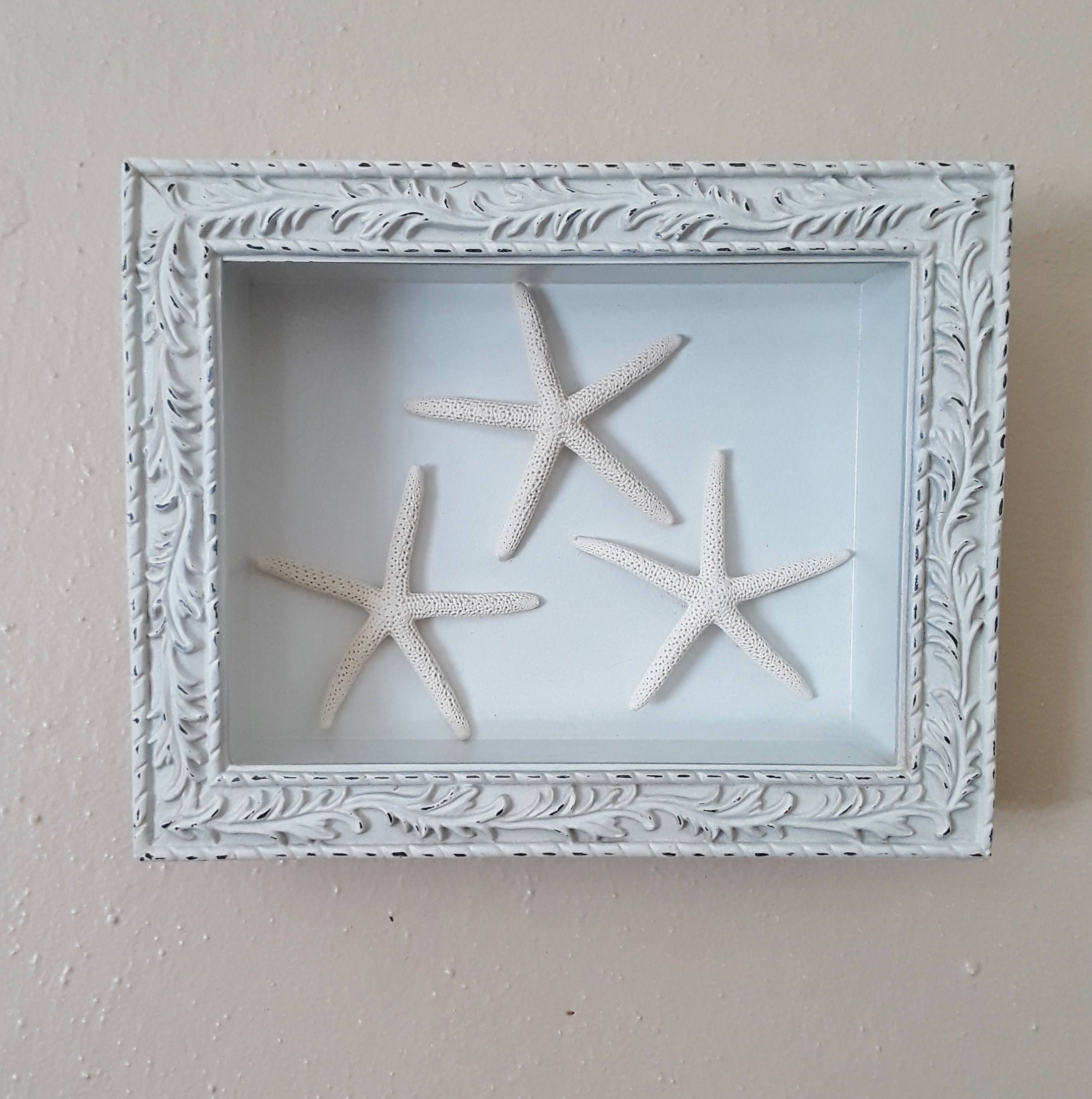 Starfish Picture White Wall Hanging Seaside Sign Coastal Cottage Shabby