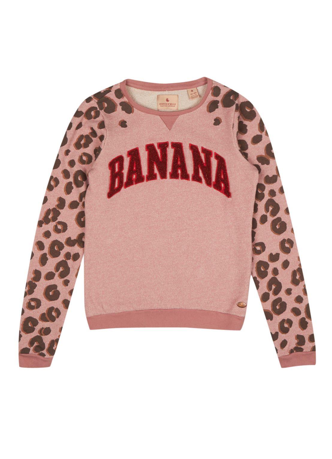 Scotch R'Belle Sweater Banana met panteropdruk • de Bijenkorf
