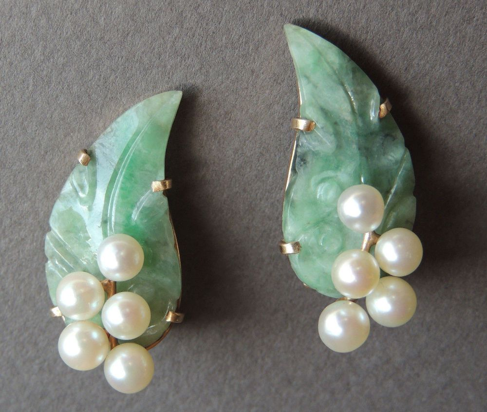 MING'S Honolulu Carved Jade and Pearls 14k Yellow Gold
