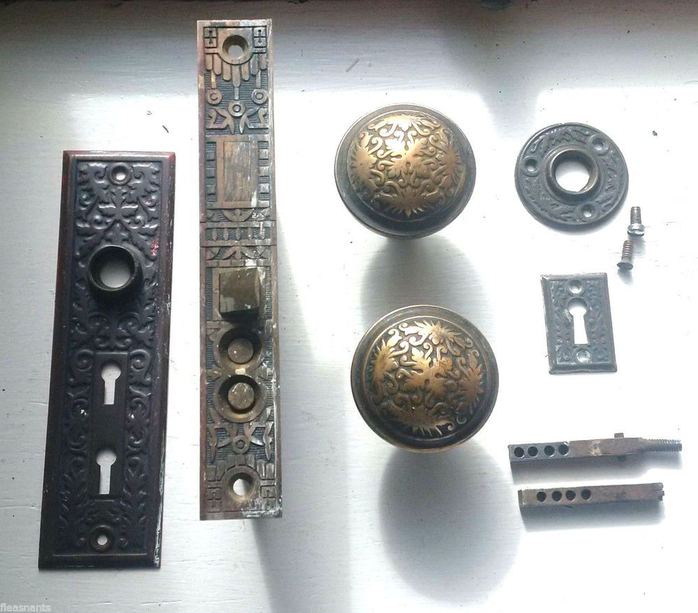 Antique Reading Hardware Co Mortise Lock DOOR KNOB SET Push Button 2 Key  Ornate #ReadingHardware