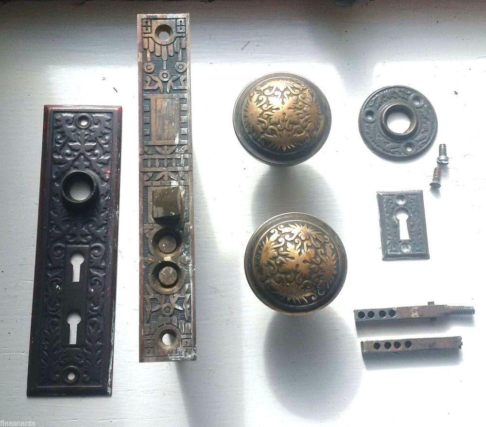 Antique Reading Hardware Co Ornate Mortise Lock DOOR KNOB SET Push ...