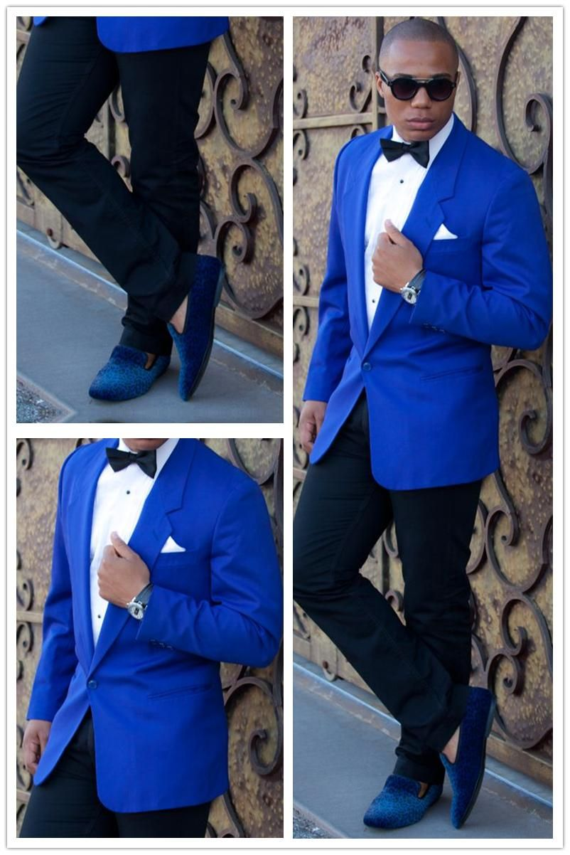 2016 Custom Made Blue Blazer Black Pants 2 Pieces Mens Wedding Prom ...