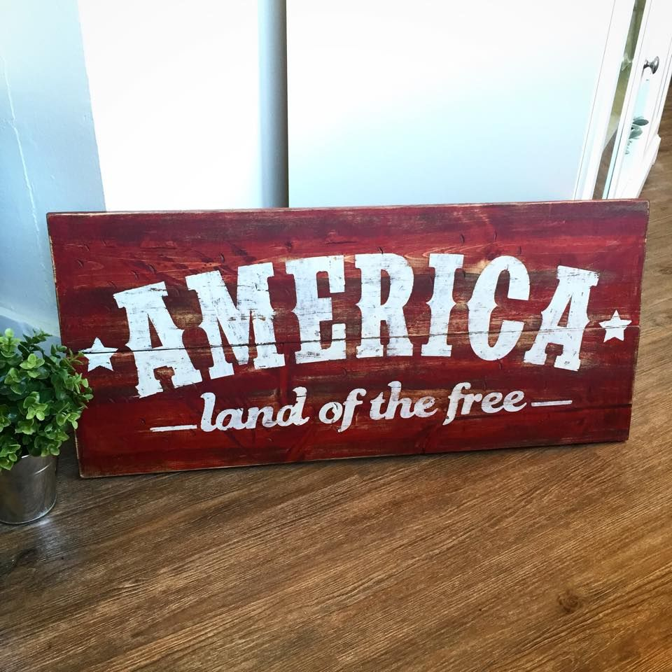 Decorative Wooden Kitchen Signs Classy America The Land Of The Free Wooden Sign 32X15  4Th Of July Decorating Inspiration