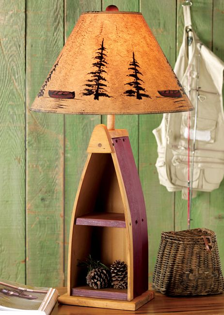 Canoe Shelf Table Lamp Rustic Table Lamps Rustic Lamps Decor
