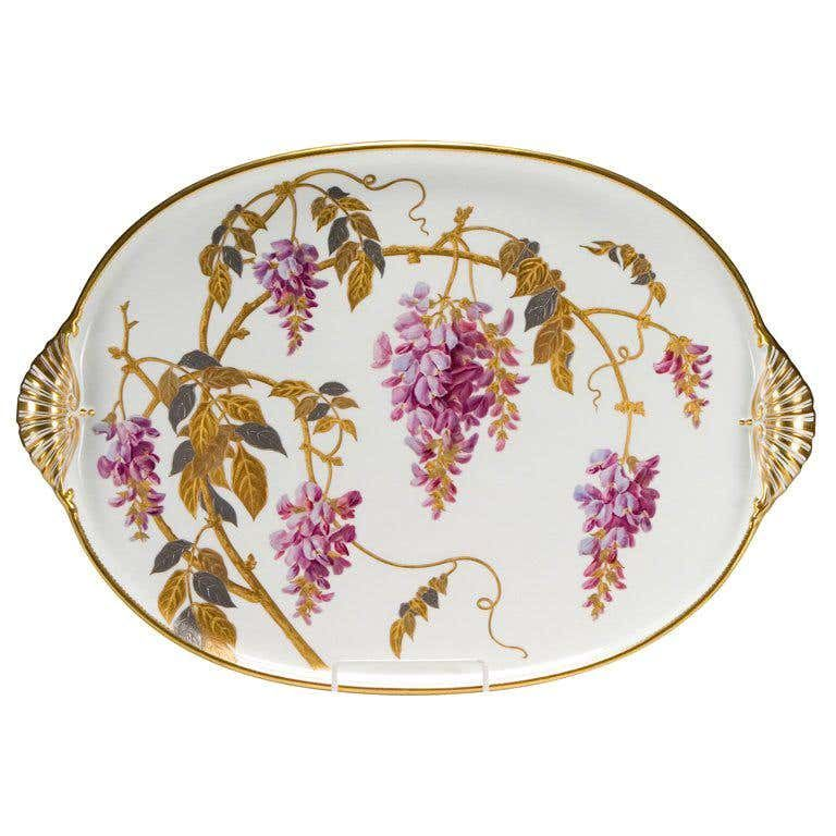 Superb Hand Painted Minton Porcelain Tray For Sale at 1stDibs