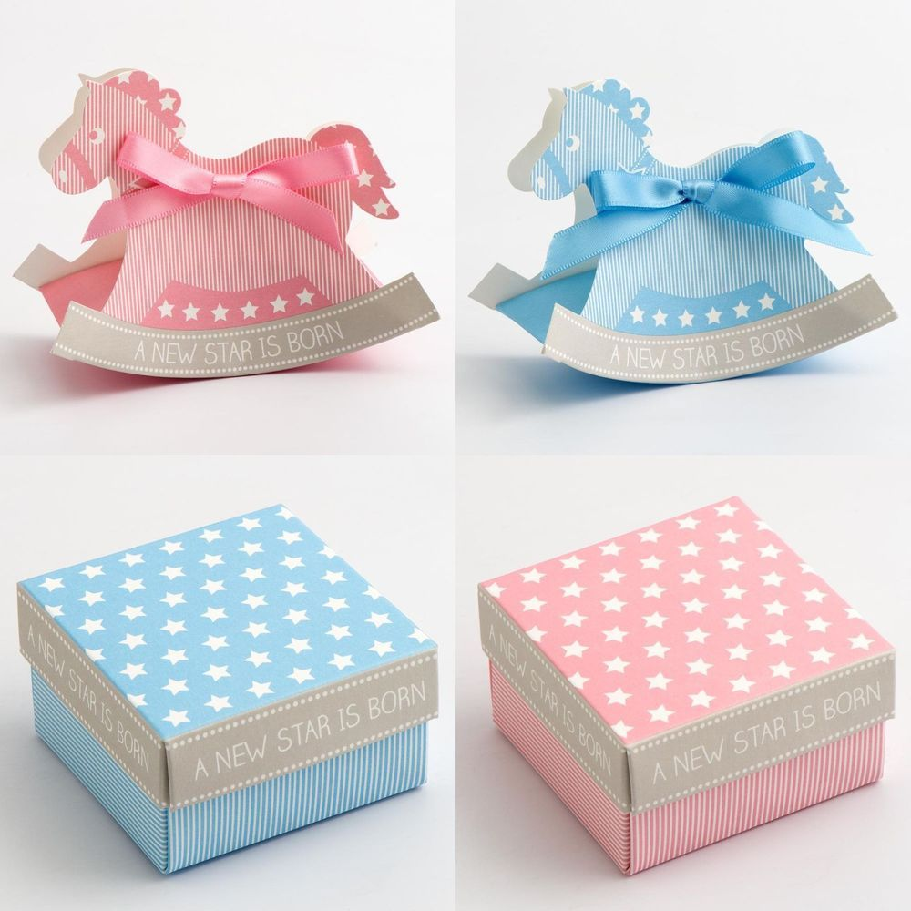 Baby Favour Boxes Blue Pink Boy Girl Shower Christening Rocking ...