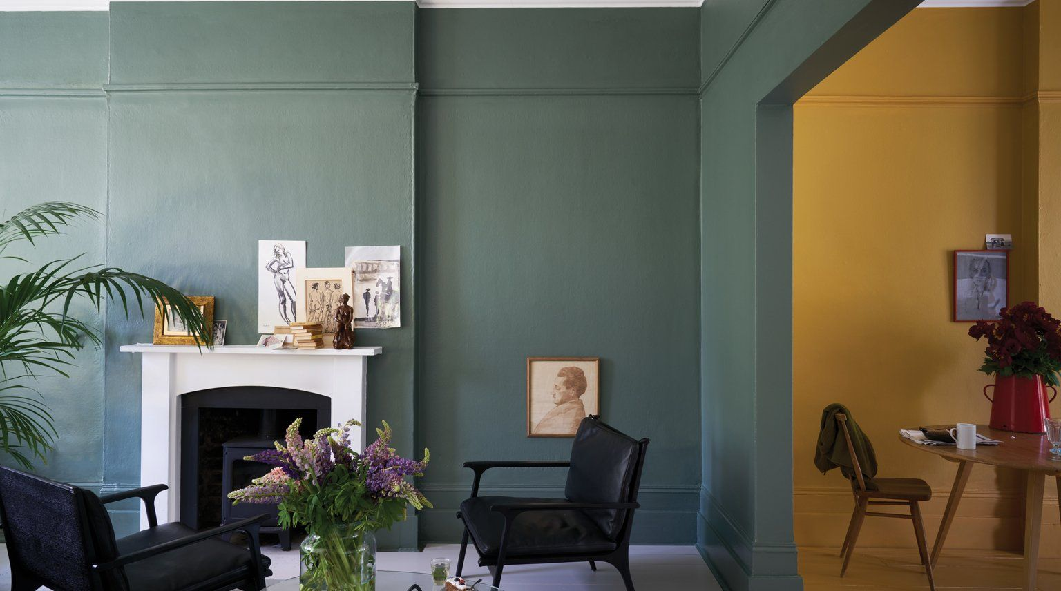 Salbeigrun Trendfarbe Furs Interior In 2020 Farrow And Ball Living Room Yellow Living Room Room Colors