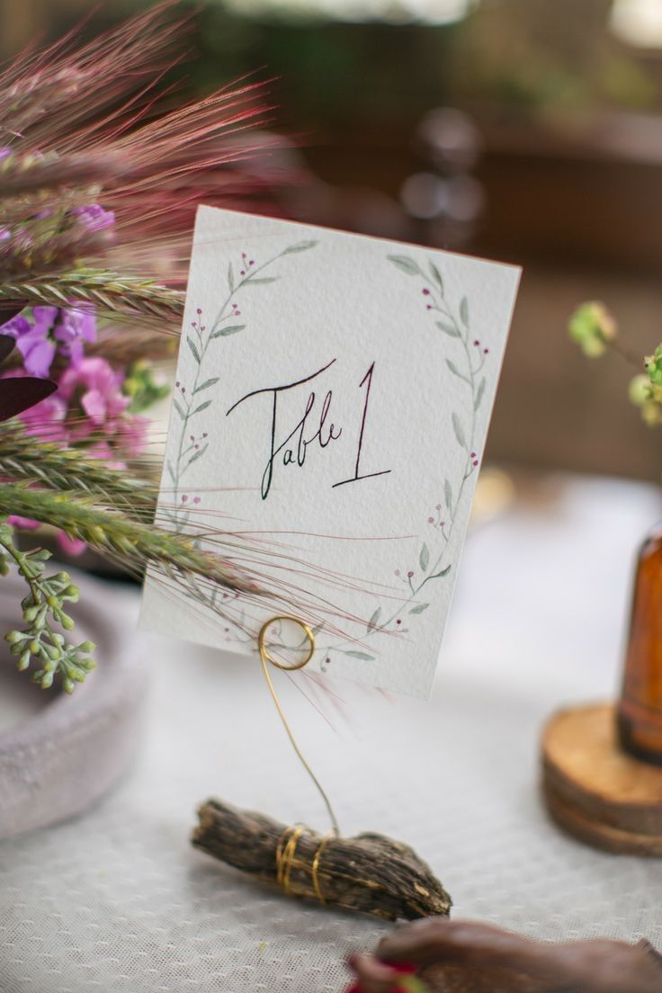 Fall Wedding Inspiration, green leaves table number, wheat wedding ...