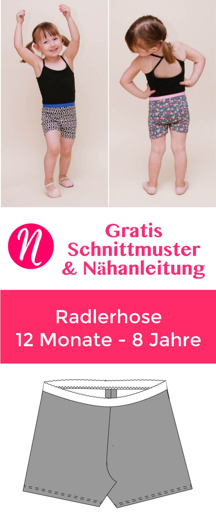 Radlerhose für Kinder - Freebook | Sewing kids clothes, Free pattern ...