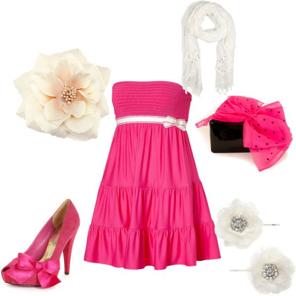 pink party outfit, created by cheerleader1571 on Polyvore