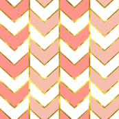 Gold Chevron Fabric Gilded Herringbone In Bright Coral And Mint By Willowlanetextiles Pink Blue Cotton The Yard With Spoonflower