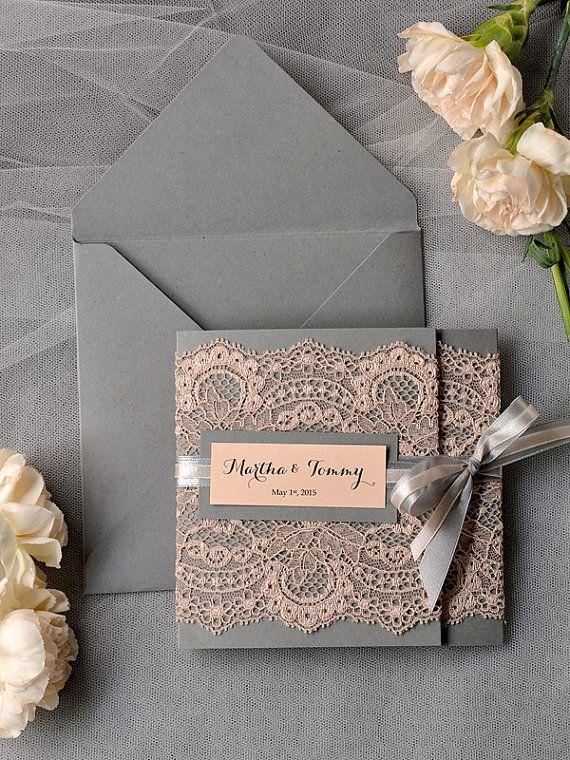 https://www.echopaul.com/ #wedding Peach Wedding Invitations, Lace grey and Peach invitation, Vintage Wedding Invitations