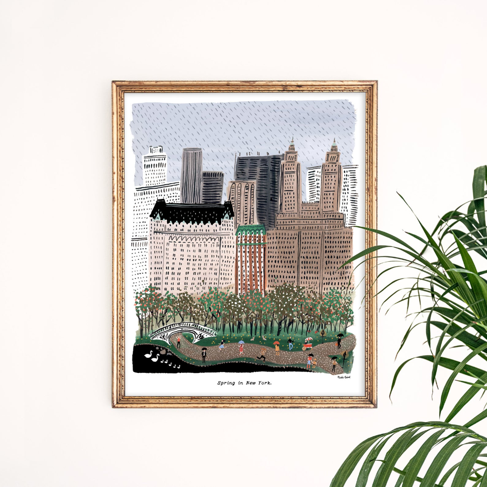 Spring In New York City Art Print Central Park Art New Etsy In 2020 Art Prints Nyc Wall Art City Art