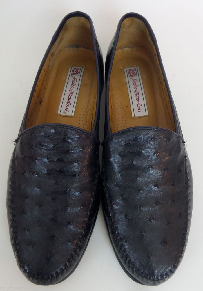 9b00d7b467b Sandro Moscoloni Shoes Black Men Dress Ostrich Leather Slip on Loafers 8.5 D
