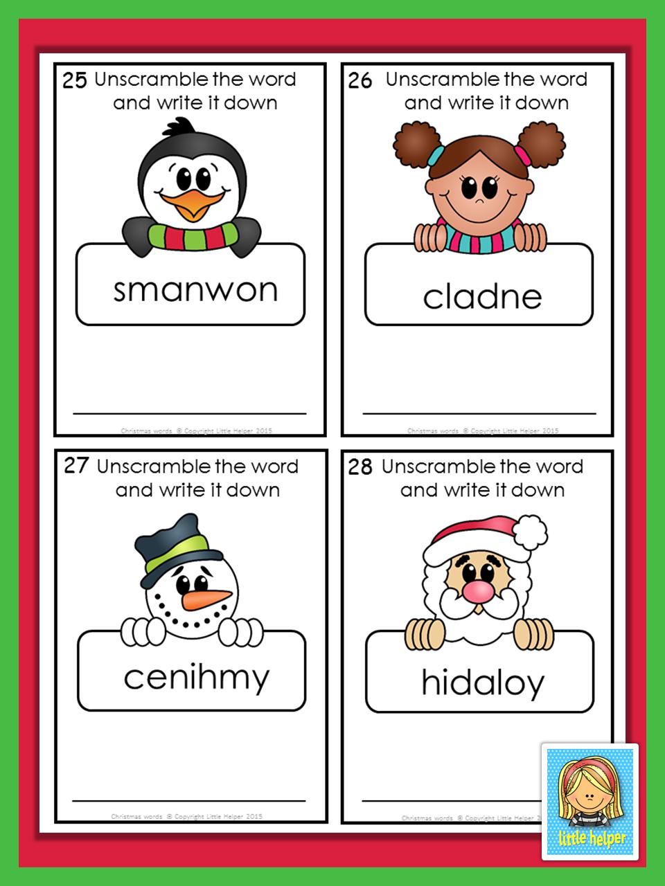 Christmas Words Jumbled Letters Elementary Educators Pinterest